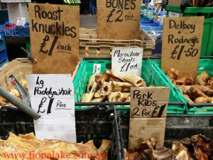 We'll be visiting local markets so we can talk to local producers & enjoy quirky sights, such as this huge range of treats available for UK's dog lovers.