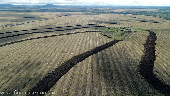 Drone Photography Showing Conservation Measures Contour Banks Central Queensland